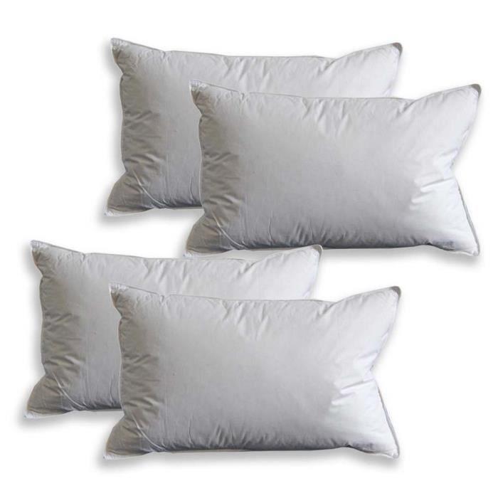 oreiller lot de 4 ultra gonflant et moelleux en plumes de canard blanc 50 x 75 cm achat. Black Bedroom Furniture Sets. Home Design Ideas
