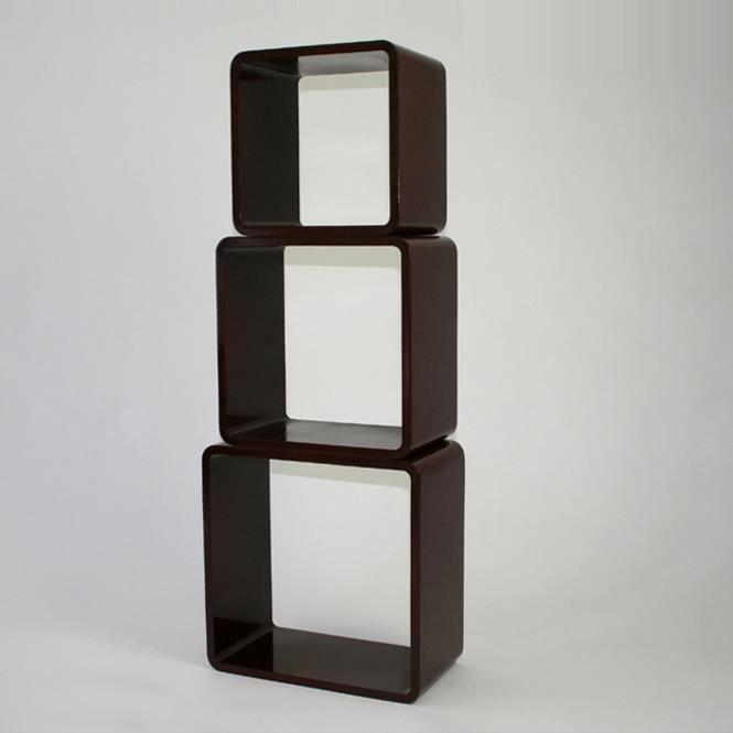 tag re cube murale de 3 pi ces peint brillant achat vente etag re murale tag re cube. Black Bedroom Furniture Sets. Home Design Ideas