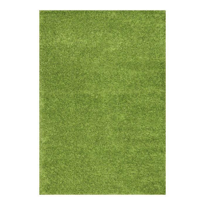 Allotapis tapis en polyester shaggy uni vert foster 160x230cm vert ac - Tapis shaggy vert anis ...