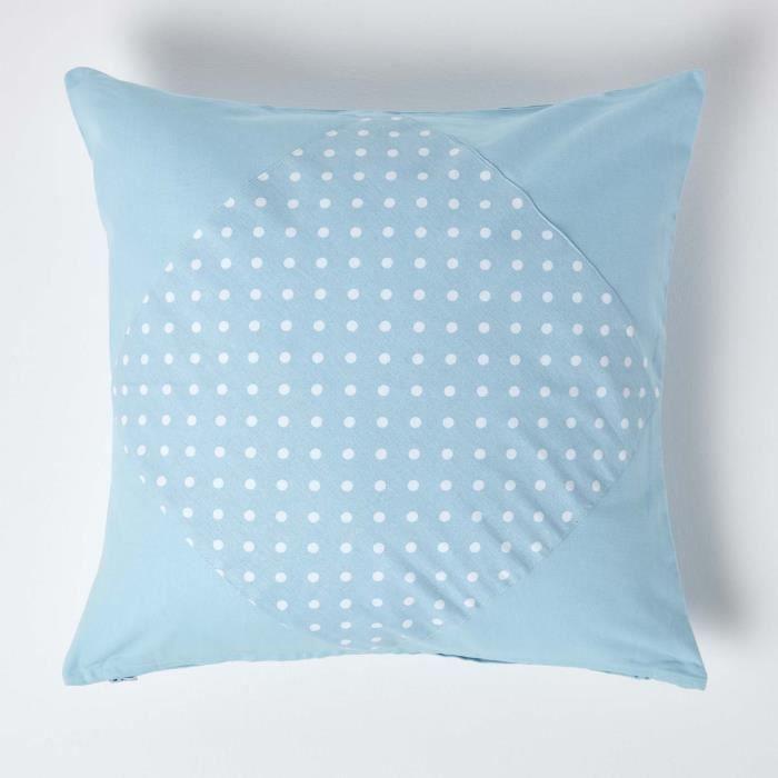 Coussin d houssable bleu pois polka 60 x 60 cm achat for Housse de coussin 60 60