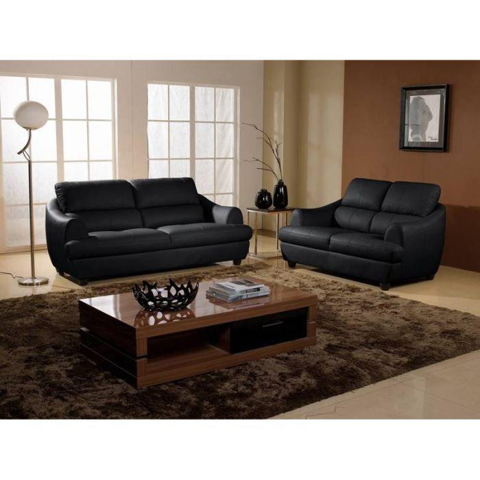 salon luxe 3 2 places cuir design noir mona achat vente salon complet cdiscount. Black Bedroom Furniture Sets. Home Design Ideas