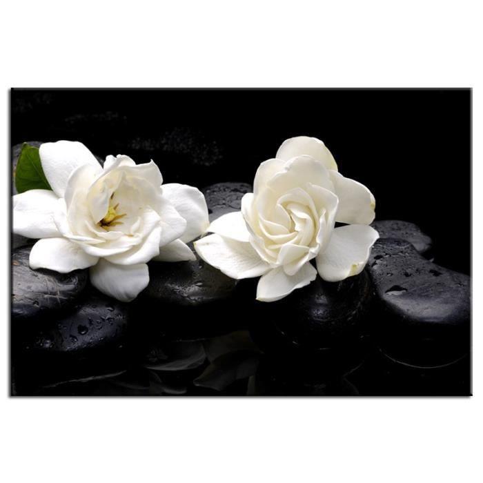 Tableau d co fleurs et cailloux achat vente tableau for Achat cailloux decoration