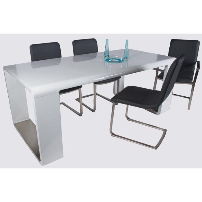 table de salle manger bela coloris blanc haute brillance 1000 800 x 900 x 205 cm achat. Black Bedroom Furniture Sets. Home Design Ideas