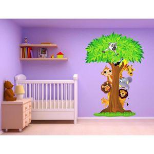 stickers stickers arbre animaux jungle 15208 hauteur 170c