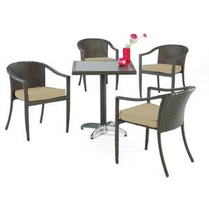 Chaises fauteuil jardin resine beige achat vente for Fauteuil 4 places