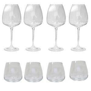 Verre à vin COFFRET 4 GOBELETS + 4 VERRES A VIN ANDELLE crista