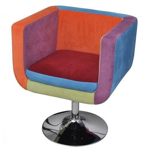 fauteuil club design patchwork multi couleur achat vente fauteuil tissu lin acier chrom. Black Bedroom Furniture Sets. Home Design Ideas