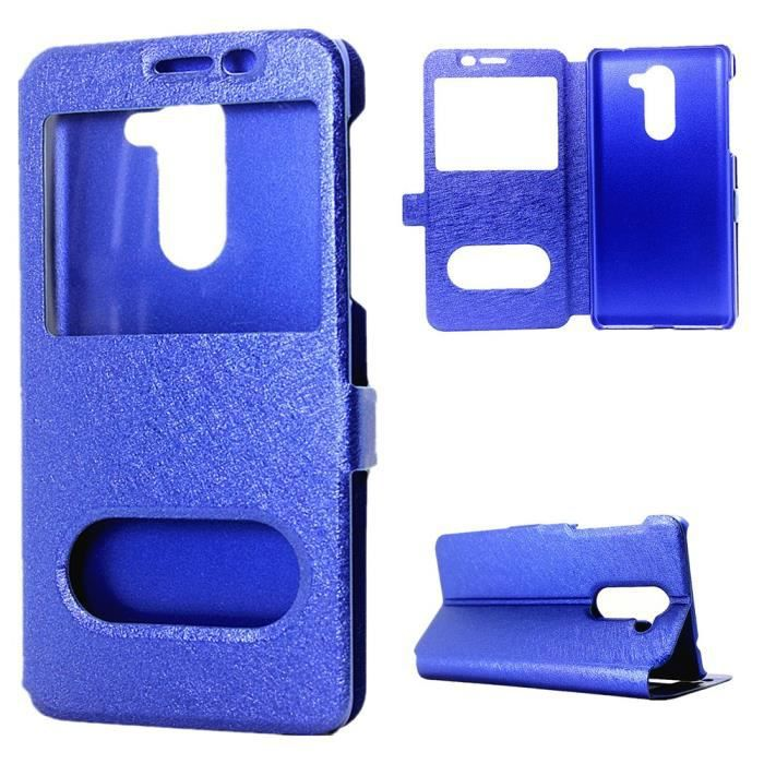 Etui en pu pour huawei honor 6x 2016 blue achat for Housse honor 6x