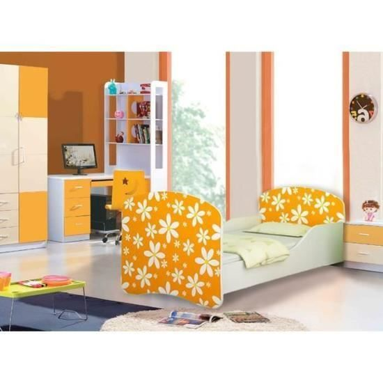 Lit enfant fleurs jaunes sommier matelas 160x80 cm achat vente lit co - Lit complet sommier matelas ...