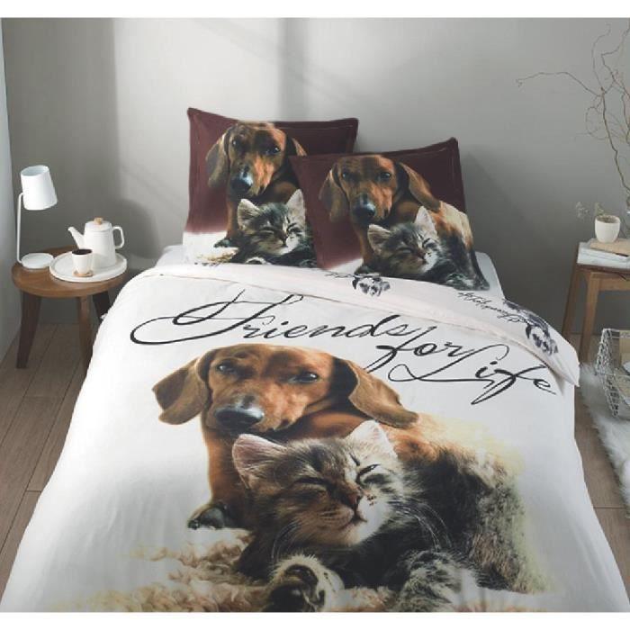 parure housse de couette 100 coton flanelle amis pour la vie 240x220 cm 2 taies d 39 oreiller. Black Bedroom Furniture Sets. Home Design Ideas