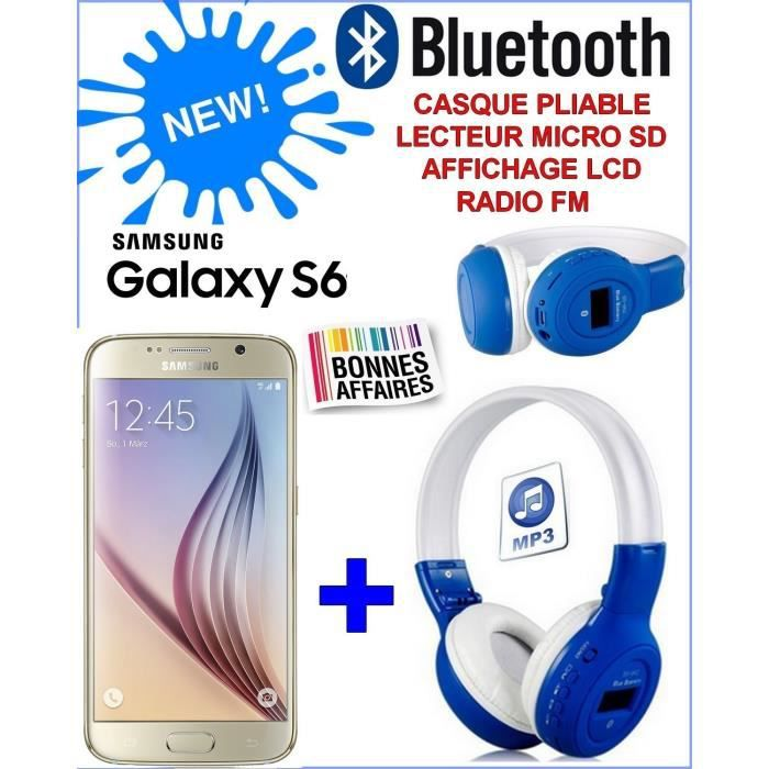 samsung galaxy s6 gold 32 giga neuf casque bluetooth. Black Bedroom Furniture Sets. Home Design Ideas