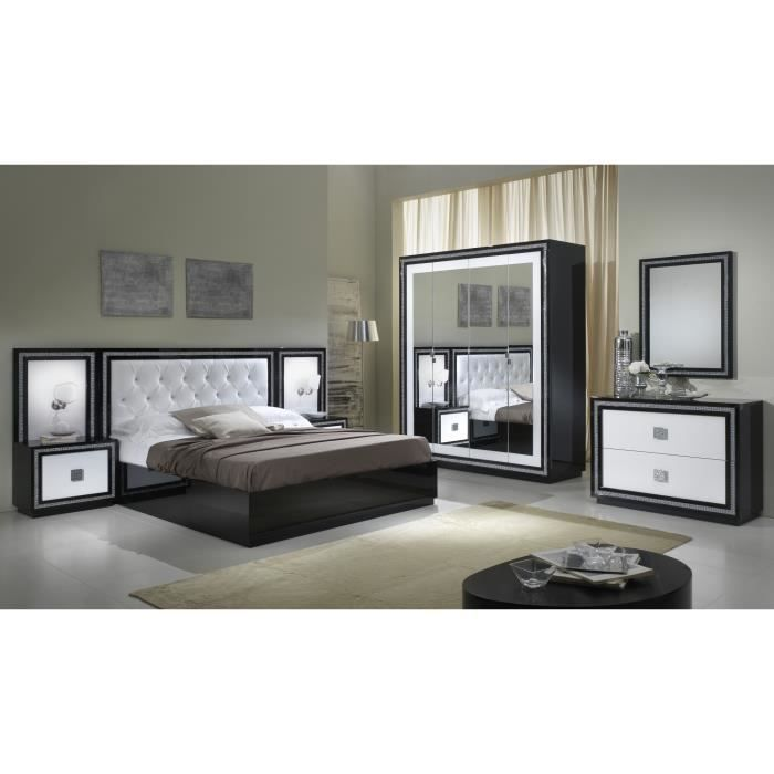 Chambre adulte compl te design laqu e blanche et noire kristel achat vente chambre compl te for Chambre adulte complete blanche