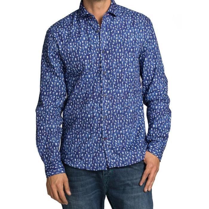 chemise desigual homme manches courtes bleu achat vente chemise chemisette cdiscount. Black Bedroom Furniture Sets. Home Design Ideas