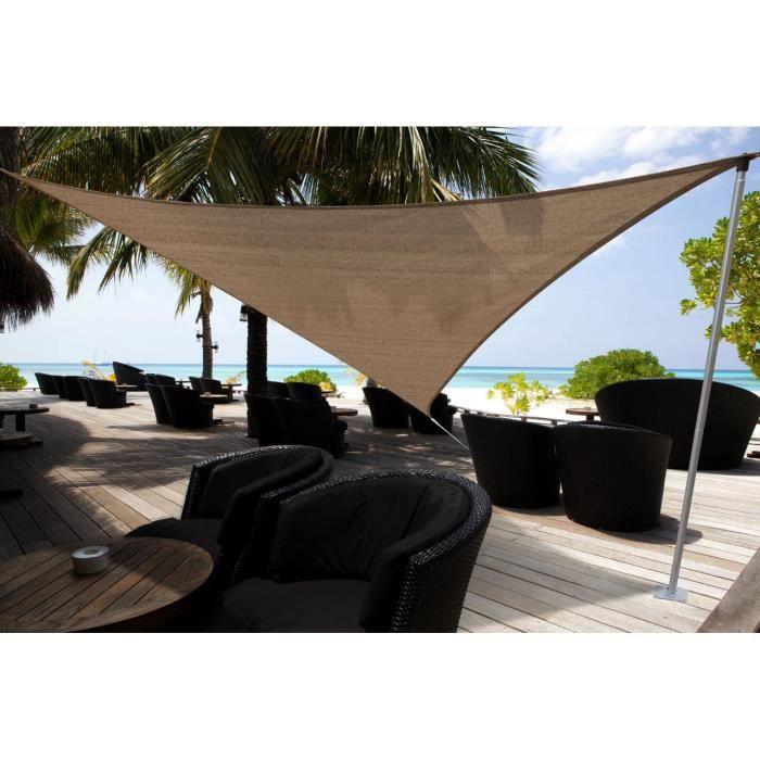 voile d 39 ombrage triangulaire 500cm de c t ajou achat vente parasol ombrage voile d. Black Bedroom Furniture Sets. Home Design Ideas