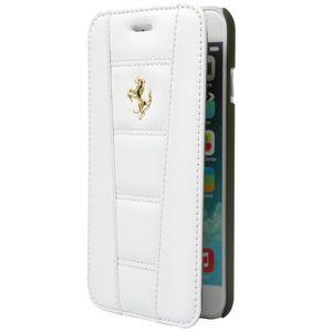 HOUSSE - ÉTUI FERRARI étui Folio cuir blanc pour APPLE IPHONE 6+