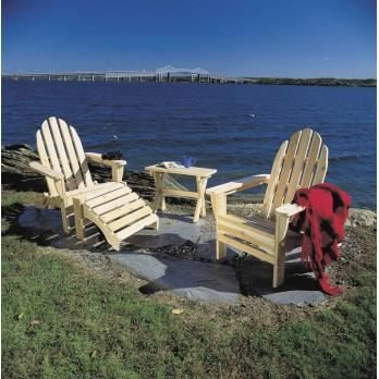 Salon de jardin en bois adirondack fauteuil repose pieds et table achat - Fauteuil de jardin en bois style americain ...