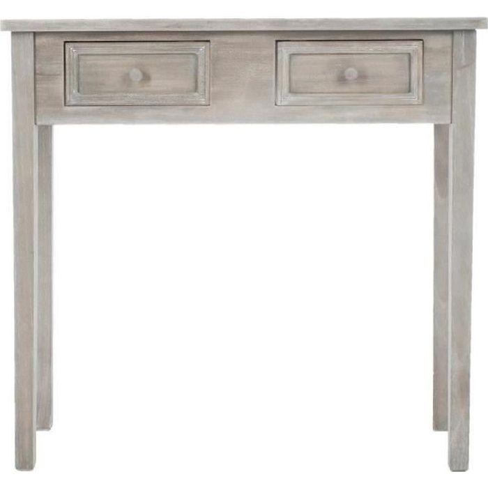 console 2 tiroirs charme gris effet bois vieillit autres gris achat vente console console 2. Black Bedroom Furniture Sets. Home Design Ideas