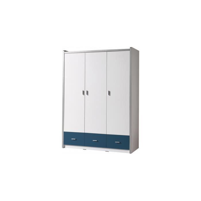 Armoire enfant laqu blanc et bleu 3 portes 3 tiroirs achat vente armoire - Armoire enfant cdiscount ...