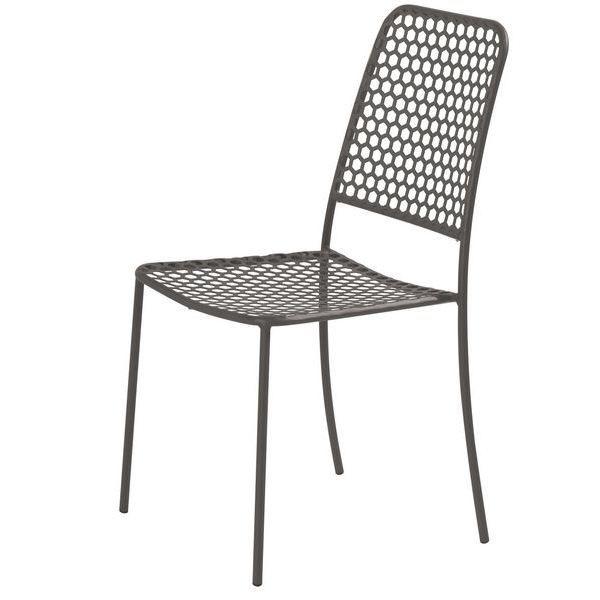 Chaise acier etire hexagone gris fonce achat vente chaise fauteuil jardin chaise acier for Chaise en acier poitiers