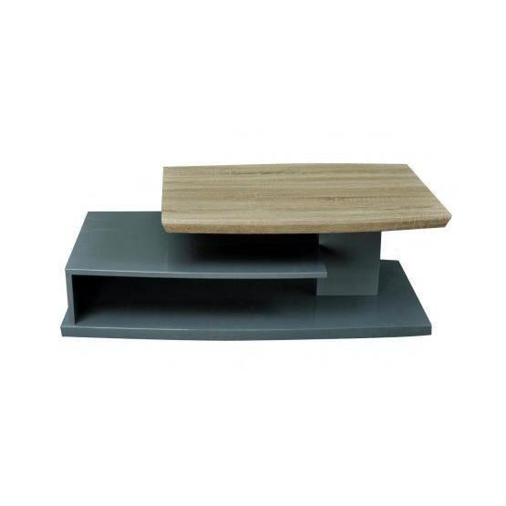 Table basse design doyel gris et bois achat vente for Table basse bois gris