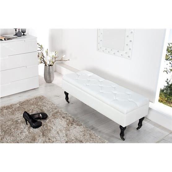 Banc design sofaa blanc a l 39 unit achat vente banc blanc cdiscount - Banc cuir blanc design ...