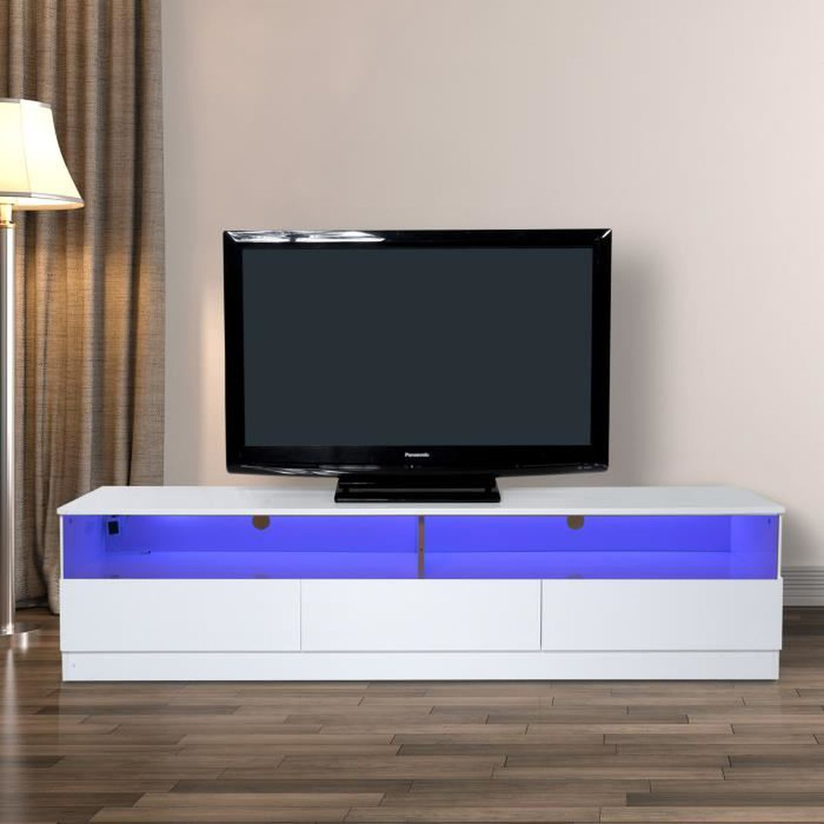meuble tv bas design contemporain multi rangements verre tremp m lamin clairage led vari 150. Black Bedroom Furniture Sets. Home Design Ideas