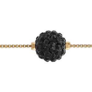 BRACELET - GOURMETTE Bracelet plaqué or grosse boule résine 10mm strass