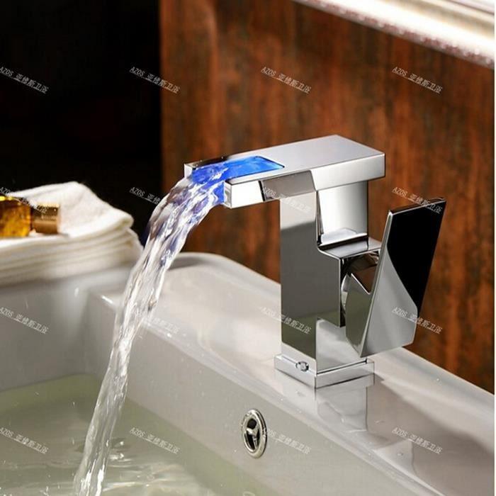 Robinet mitigeur de lavabo en laiton led couleurs salle de bains variables - Robinet led salle de bain ...