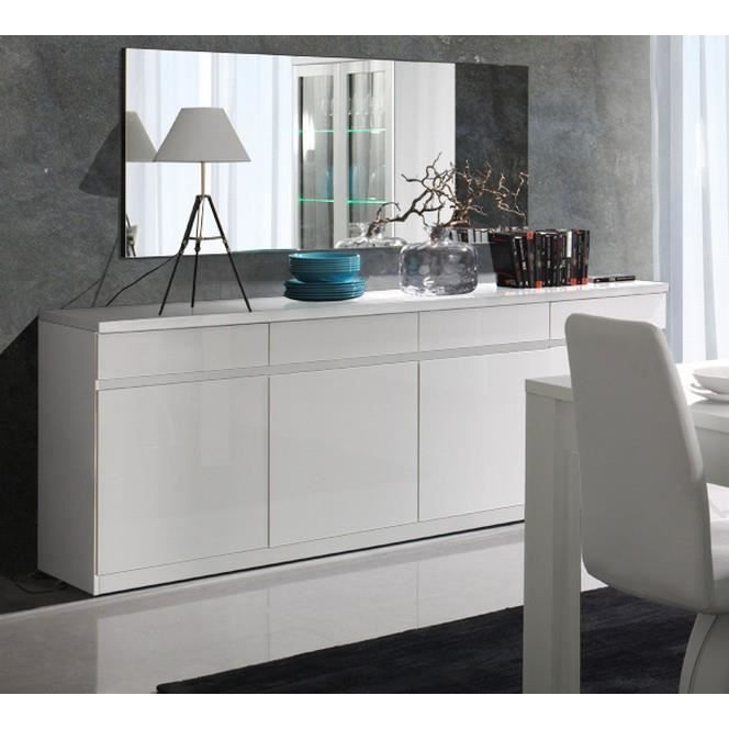 bahut 4 portes blanc brillant soyeux meuble house achat vente buffet bahut bahut 4. Black Bedroom Furniture Sets. Home Design Ideas