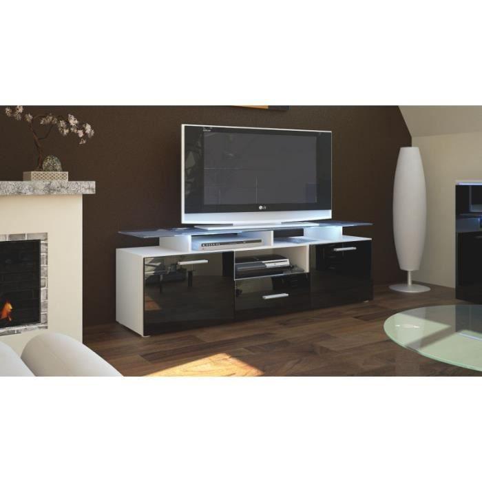 Meuble tv laqu blanc et noir avec led 146 cm achat for Meuble tv blanc noir