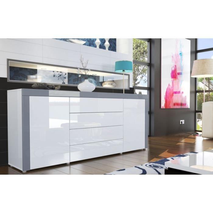 Buffet design laqu blanc blanc gris achat vente - Buffet gris et blanc ...