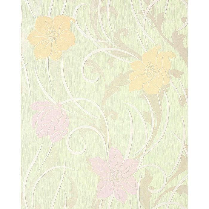 papier peint de bon go t motif floral edem 111 35 vert clair jaune safran violet clair blanc. Black Bedroom Furniture Sets. Home Design Ideas