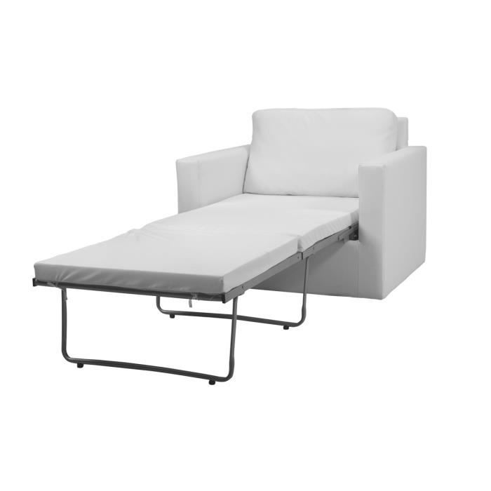 fauteuil convertible blanc 1 place gabi achat vente. Black Bedroom Furniture Sets. Home Design Ideas