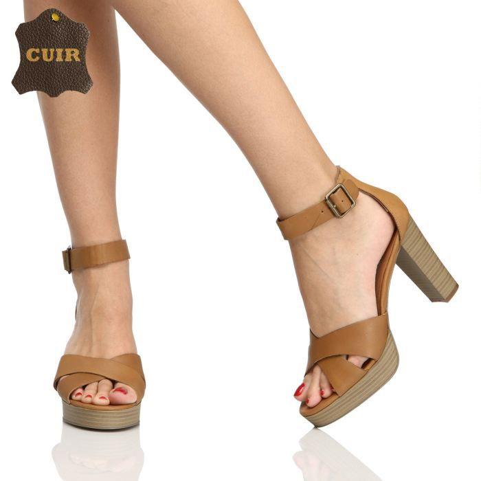 elite sandales cuir dominica femme femme camel achat vente elite sandales dominica femme. Black Bedroom Furniture Sets. Home Design Ideas