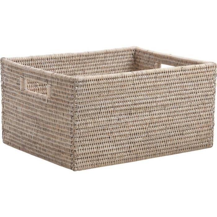 corbeille de rangement en rotin blanc 38x30x20 cm achat vente casier pour meuble rotin. Black Bedroom Furniture Sets. Home Design Ideas