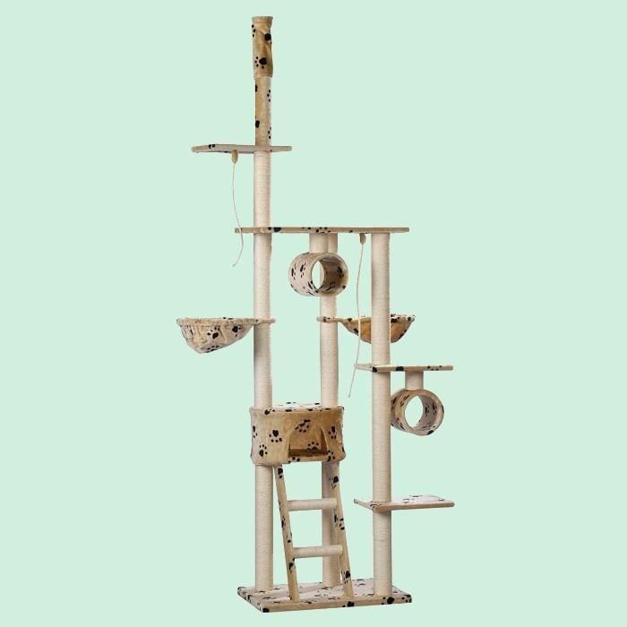grand arbre chat beige motif pattes achat vente arbre chat grand arbre chat beige. Black Bedroom Furniture Sets. Home Design Ideas