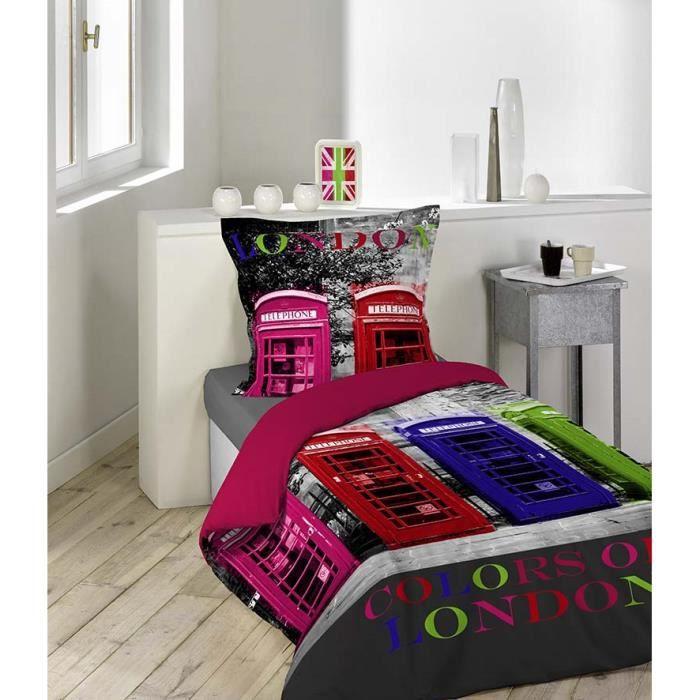 housse de couette 140x200 100 coton london cabine 1 taie achat vente housse de couette. Black Bedroom Furniture Sets. Home Design Ideas
