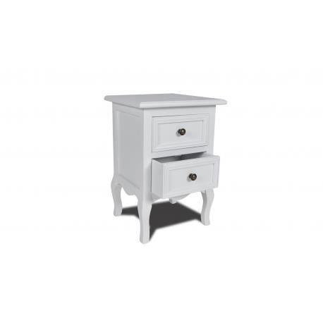 table de chevet en pin bross avec 2 tiroirs blanche stylashop achat vente chevet table de. Black Bedroom Furniture Sets. Home Design Ideas