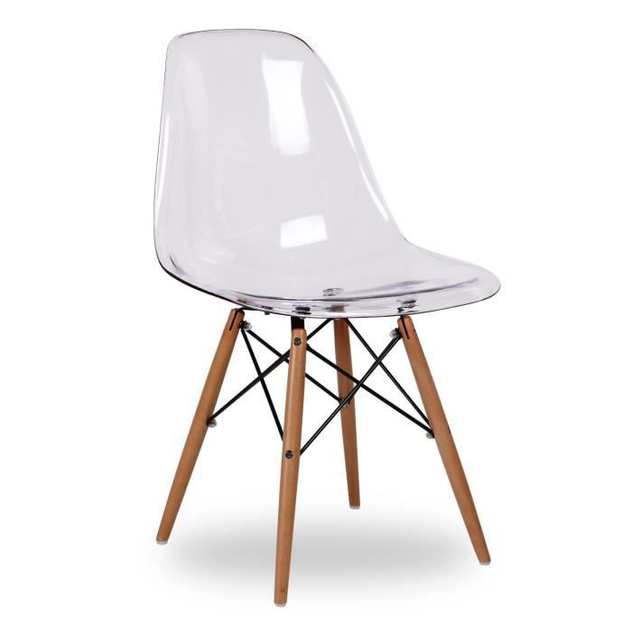 chaise eames dsw style clear (transparent) - achat / vente chaise ... - Chaises Eames Dsw Pas Cher