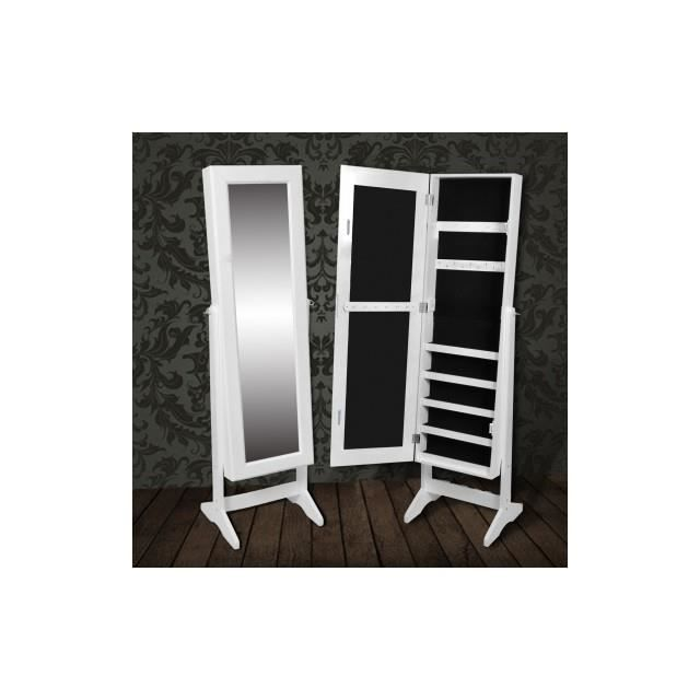 Armoire bijoux rangement miroir meuble chambre blanc achat vente armoir - Armoire bijoux miroir ...