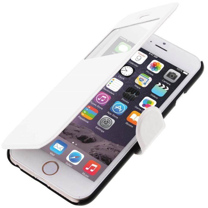housse etui clapet fen tre iphone 6 blanc achat. Black Bedroom Furniture Sets. Home Design Ideas