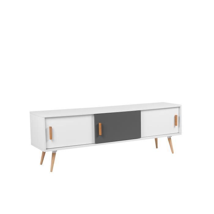 meuble tv meuble de rangement blanc gris indiana. Black Bedroom Furniture Sets. Home Design Ideas