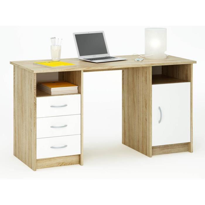 bureau monte carlo 135 x 60 x 73 cm ch ne bross blanc perle achat vente armoire de. Black Bedroom Furniture Sets. Home Design Ideas