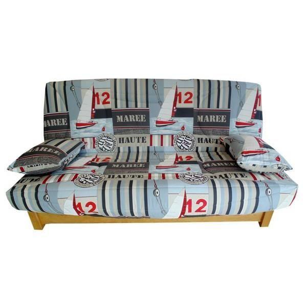 housse clic clac 120 x 190 voilier taupe rouge achat vente housse de canape cdiscount. Black Bedroom Furniture Sets. Home Design Ideas
