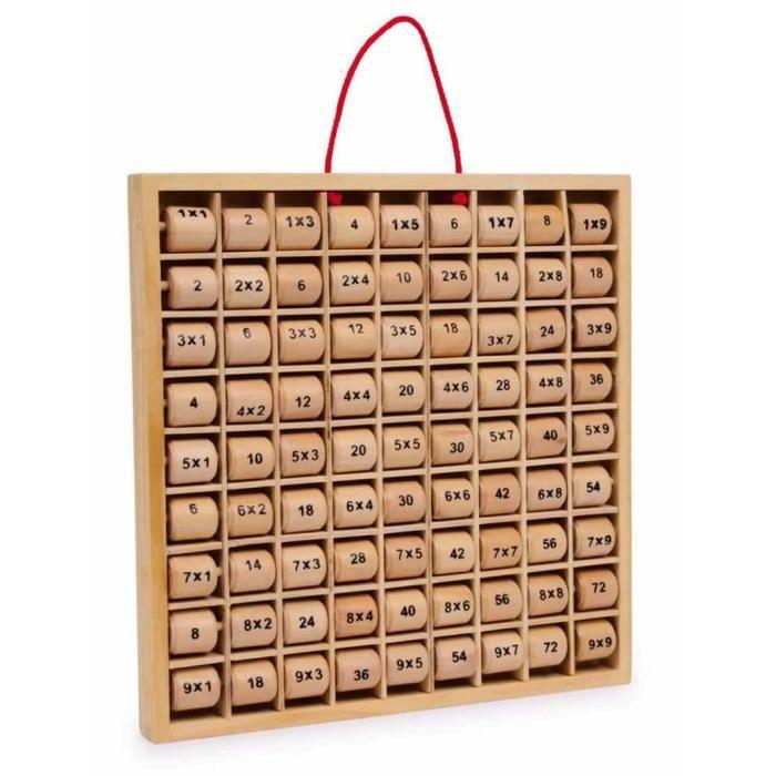 Tableau ducatif en bois des tables de multiplications for Table de multiplication en tableau
