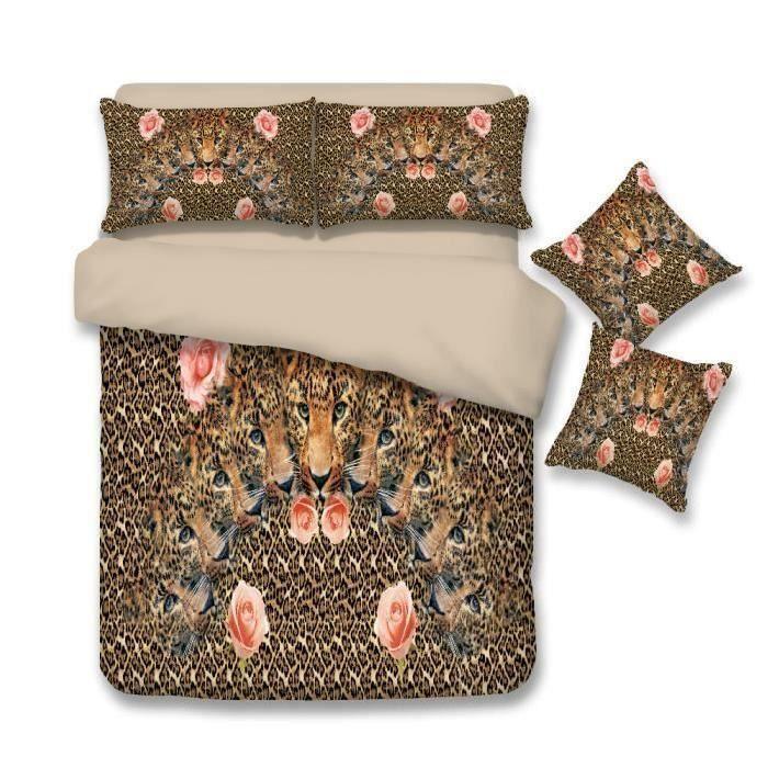 parure de lit rose rouge 100 coton 220 240 cm 4 pieces achat vente housse de couette. Black Bedroom Furniture Sets. Home Design Ideas