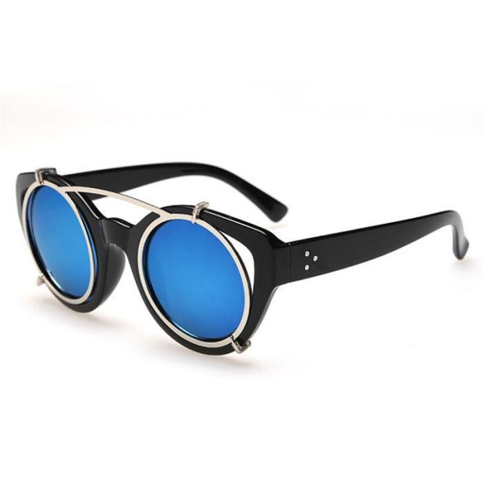 mixte d 39 hommes de femmes rondes lunettes bleu achat vente lunettes de soleil mixte bleu. Black Bedroom Furniture Sets. Home Design Ideas