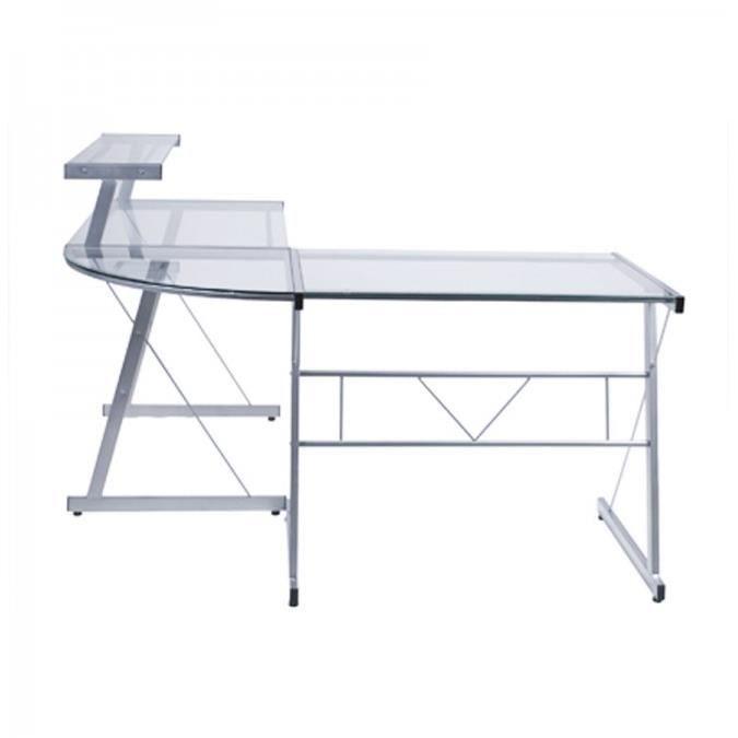 bureau d 39 angle design daniel en verre transparent achat vente bureau bureau d 39 angle design. Black Bedroom Furniture Sets. Home Design Ideas