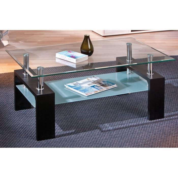 maison meubles mobilier table basse double en verre dana noire f  int