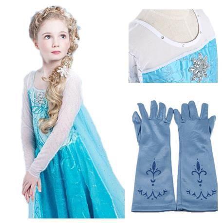 jolie robe bleu elsa avec gants 2 a 14 ans bleu achat vente d guisement panoplie cdiscount. Black Bedroom Furniture Sets. Home Design Ideas